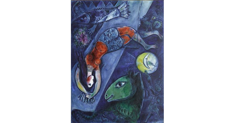 Marc Chagall, Le cirque bleu, 1950-1952 _ Photo RMN-Grand Palais (musee Marc Chagall) Gerard Blot ® Marc Chagall ® Adagp, Paris 2016